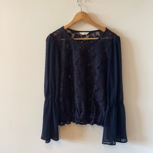 C Wonder navy lace and embroidered top bell sleeve